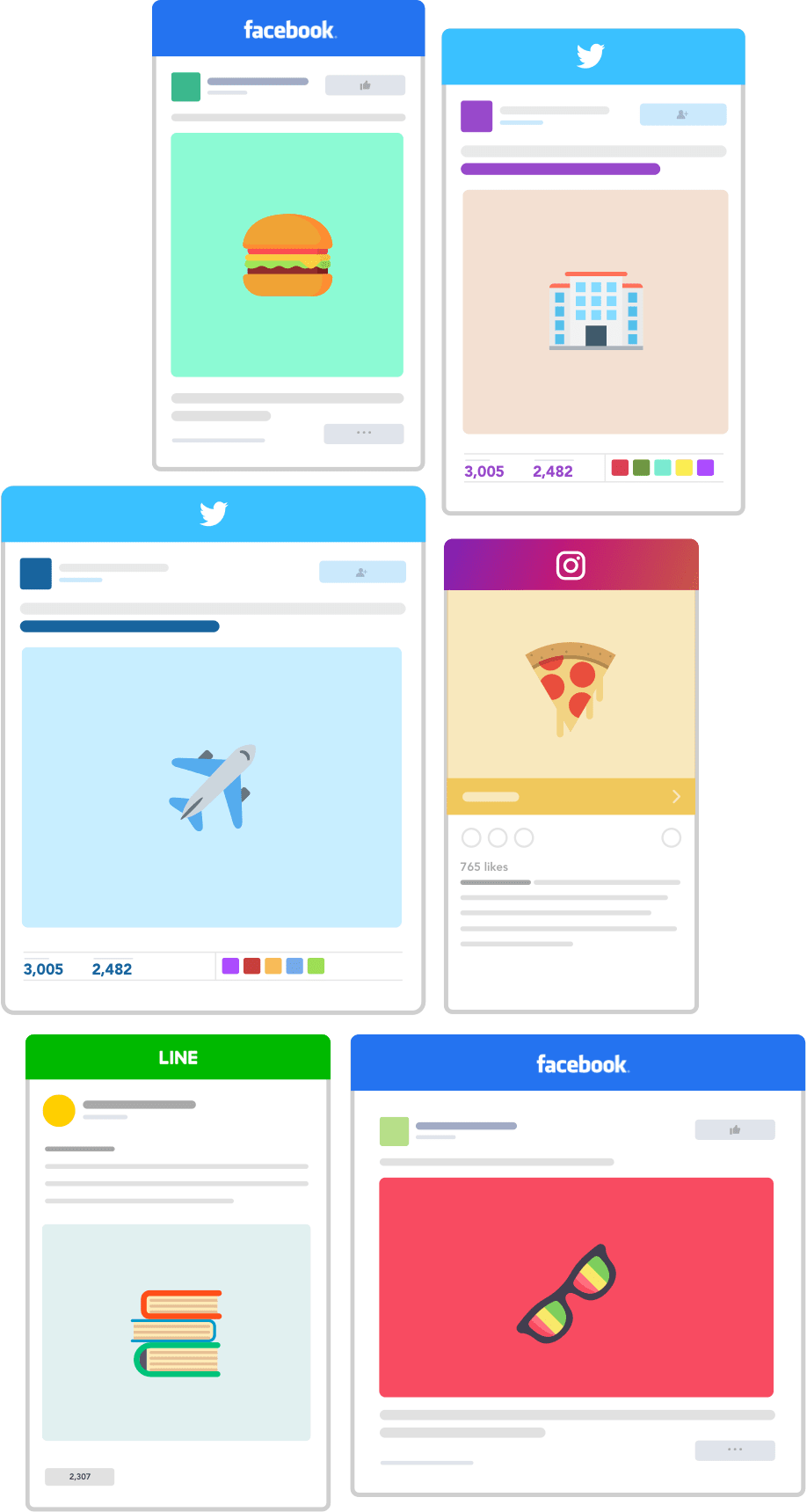 sns-facebook-twitter-instagram-line-flat-design-advertisements